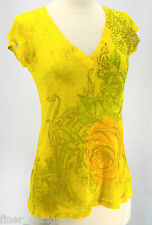 Cache women Tee T-Shirt  knit cotton V neck sexy floral Mustard S/S SIZE S