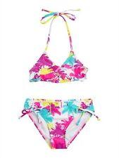 Roxy Girls Sz 10 Bikini SEEING PALMS RUFFLE TIKI TRI SET SWIMSUIT