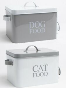 Pet Food Dog Cat Grey White Treat Traditional Metal Storage Tin Scoop Container