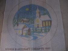 Vtg Artcraft Concept Latch Hook Rug Canvas – Winter Scene #870404