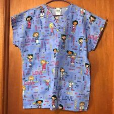 Euc - Simply Basic Women's Size M Scrub Top with Female Characters for Kids