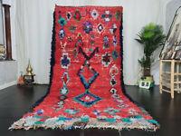 """Moroccan Handmade Vintage Carpet 5'3""""x10'4"""" Geometric Red Blue Berber Wool Rug"""