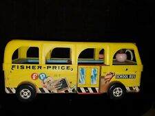 Vintage 1960s Fisher-Price SCHOOL BUS Toy & People -Great Childs Room Decoration