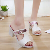 Women's Sandals Peep Toe Block High Heels Casual Slippers Buckle Shoes US4.5-9