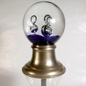 VINTAGE GLASS & BRONZE STAIR NEWEL POST CAP BALL FINIAL ANTIQUE DECOR