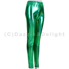 WOMENS WET LOOK METALLIC LEGGINGS SHINY LADIES DISCO PANTS FESTIVAL GLITTER CLUB