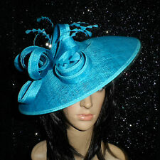 FAILSWORTH PEACOCK  BLUE WEDDING ASCOT HAT DISC FASCINATOR MOTHER OF THE BRIDE