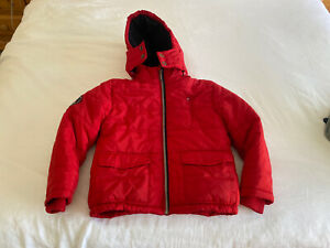 YOUTH KIDS BOYS TOMMY HILFIGER Red FULL ZIP HOODIE JACKET COAT PUFFER Size 6
