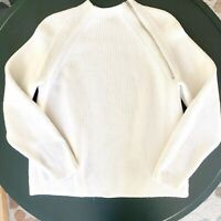 Everlane White Ribbed Fisherman ZIP Mock Neck Sweater Womens Size XL