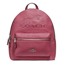NWT COACH Jes Charlie Backpack Logo Bag Horse Carriage Rouge Pink Gold F76729