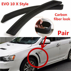 Pair For EVO 10 X Style Mesh PP Carbon Fiber Look Front Fender Side Vent Cover