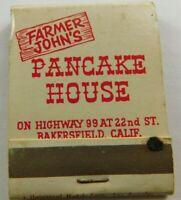Farmer John's Pancake Bakersfield California Full Unstruck Vintage Matchbook Ad