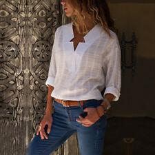 UK Womens V-neck Long Sleeve Casual OL Shirt Ladies Linen Tops Blouse Size 8-20