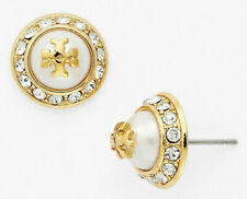Tory Burch 41145502 Natalie Domed Logo Pearl Crystals Gold Tone Stud Earrings