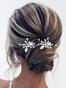 Pearl Bride Wedding Hair Pins Silver Crystal Bridal Hair Accessories Leaf