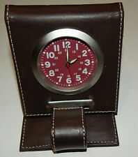 Travel Alarm Clock Compact Folding Leather Look Brown Case w/ Instructions Works