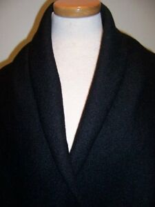 4yds STRETCH BLACK BOUCLE TEXTURE KNIT PURE WOOL COUTURE DESIGNER COAT FABRIC