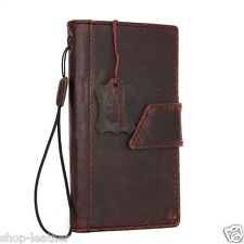 genuine vintage leather Case for Htc One M9 book wallet cover slim cards brown 9