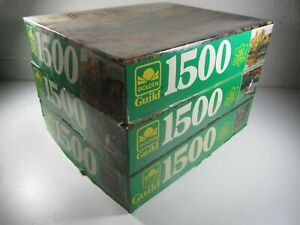 VINTAGE GOLDEN GUILD 1500 PIECE JIGSAW PUZZLE (Lot of 3) countryside Complete