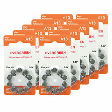 Hearing Aid Battery A13/B10_100 Evergreen 100pk, Size A13, Zinc Air