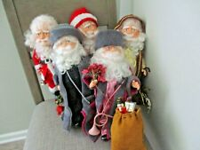 """Vintage Table Top Blow Mold Santa Claus Dolls 14"""" Lot Of 5"""