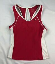 NIKE FIT DRY WOMENS SMALL PINK / WHITE RACERBACK TANK TOP tennis yoga running