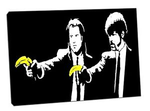 Banksy Pulp Finction Bananas  Picture Reprint On Framed Canvas Wall Art Decor