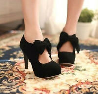 Retro Womens lady Faux Suede Bow Tie High Heel Platform Pumps Court Shoes Size