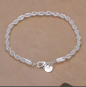 Womens Fashion 925 Sterling Silver Twisted Chain Bracelet