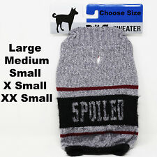 Dog Sweater Gray Spoiled pet Outfit Warm Apparel Choose Size L M S Xs Xxs New