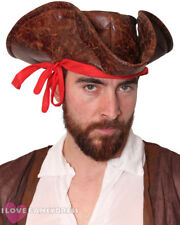 200 X PIRATE HAT LEATHER LOOK BROWN TRICORN FANCY DRESS COSTUME ACCESSORY