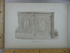 Rare Antique Original VTG 1878 Modern Cabinet Example Engraving Art Print