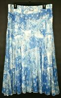 Coldwater Creek Womens Blue & White Stretch Waist Lace Casual Flare Skirt M