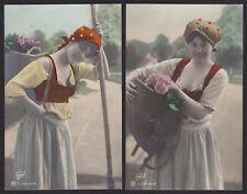 2-Tinted Photo-Traut-Pretty Woman-Basket-Flowers-Fashion-Antique Postcard Lot