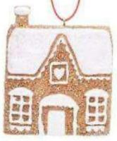 Set of 2 Gisela Graham Gingerbread House/Cottage Hanging Christmas Decorations