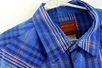 Rustler by Wrangler Mens Size XL Western Shirt Blue Plaid Pearl Snap Long Sleeve