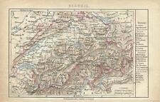 1878 SCHWEIZ Original Alte Landkarte mit Namen-Register Karte Old Print Litho