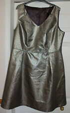 ❄️ NEW! Sz 18 Gold glittery Gok Party Dress Fit & flare Skater Style Satin Lined