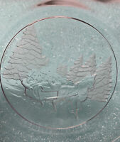 Vtg Arcoroc Winter Wonderland Trees Horse Drawn Sleigh Glass Dessert Plate