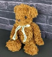 "Saks Bergners Teddy Bear Plush 12"" Stuffed Animal Brown Ribbon Floppy Scruffy"