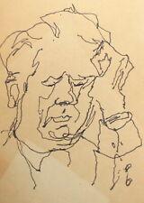 Vintage expressionist ink painting portrait