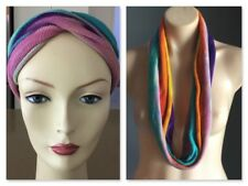 Pre-owned Boho Hippy Chic Multi Colour Tie Dye Short Infinity Scarf/Head Band
