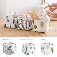 Cotton Linen Desktop Storage Box Foldable Grey Blue Green Small Storage Basket