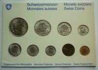 1963 1971 1973 SWITZERLAND - MINT BU TYPE SET (9) - SWISS MINT - RARE BEAUTY!