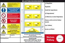 Belastungswarnhinweis Palettenregale,2 Einh.,DGUV 108-007,Kunststoff,300x200mm