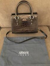 BNWOT Armani BAULETTO CROC WOMEN'S SNAP TOP TOTE Handbag Satchel Black