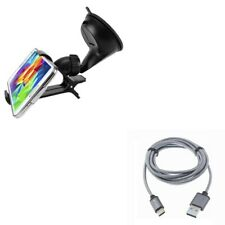 Easy Mount Car Holder w Braided 10ft Long Type-C Cable Power Cord for Smartphone