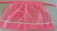 1960s Apron Half Christmas Sheer Red Gold Trim Kitchen Linens Textiles Vintage