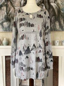 Mantaray Size 16 Grey Cotton Tunic Jumper Top Village House Tree Print