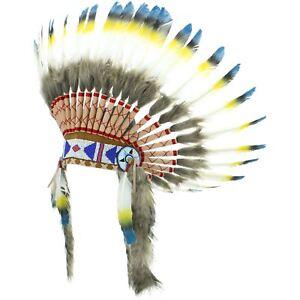 Indian Headdress Chief Feathers Bonnet Native American Gringo BLUE BLACK YELLOW